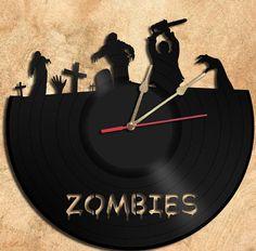 Wall Clock Zombie Vinyl Record Clock Upcycled Gift Idea on Etsy, $32.51