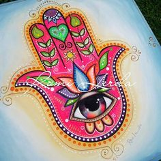 Images about tag on insyogatagram Indian Art Paintings, Hippie Art, Art, Hamsa Art, Hand Painted Canvas, Folk Art Painting, Hand Art, Hamsa Hand Art, Hamsa Painting