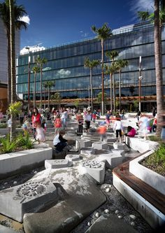 ASPECT Studios, one of Australia's leading landscape architecture companies, has designed a public domain precinct and urban play space in Sydney's Darling Water Playground, Park Playground, Playground Design, Contemporary Landscape, Urban Landscape, Landscape Design, Landscape Architecture, Architecture Design, Landscape Plaza