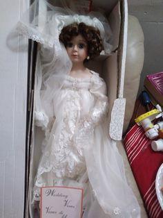 Porcelain doll on her Wedding Day! Lace Wedding, Wedding Day, Wedding Dresses, Porcelain Dolls For Sale, Victorian, Facebook, Fashion, Pi Day Wedding, Bride Dresses