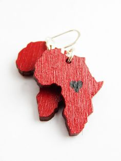 Red Heart Africa Earrings African Jewelry Africa Shaped Afrocentric Jewellery Handmade Wood Earrings Cute African Earrings Hip Hop Earrings - pinned by pin4etsy.com