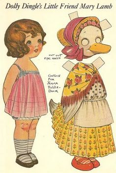 DOLLY DINGLE's Little Friend Mary Lamb I remember having hundreds of paper dolls and all the adventures they had. Kids today miss out on so much and it's a real shame.