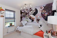 Kung Fu Panda wall art alongside a basic room decor.