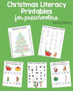Free Christmas literacy printables for preschoolers.