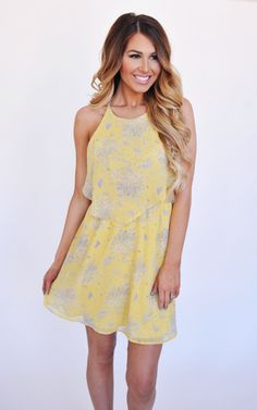 Yellow Printed Dress - Dottie Couture Boutique