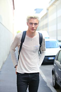 Lucky Blue Smith in Milan.