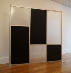 "75"" w x 75"" h Room Divider, Staggered Black Opaque & Translucent Frosted Hammered"