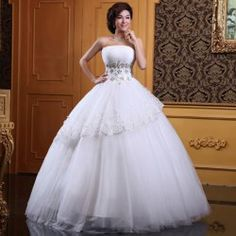 $91.81 Elegant Strapless Rhinestone Sequin Embroidery Decorated Lace Up Vintage Wedding Dress For Bride