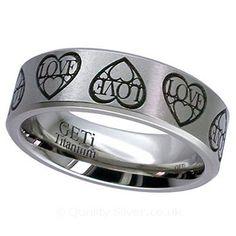 Geti Flat Titanium Love Ring