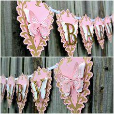 Butterfly Baby Shower Banner or lovely Banner to welcome the new Little Princess.
