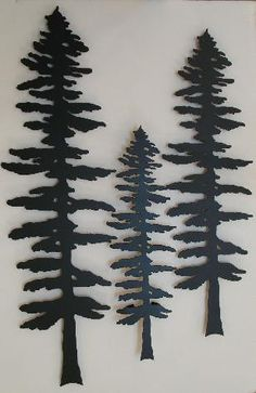 Jack Willoughby Canadian Metal Sculptures The trees are made of steel and are made to hang on a wall. Each Sitka Tree set consists of three trees that sit slightly up off the wall in order to create depth and shadow. Pine Tree Silhouette, Silhouette Painting, Landscape Silhouette, Silhouette Cameo, Metal Tree Wall Art, Metal Art, Metallic Paint Walls, Tree Artwork, Nursery Paintings