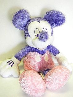 Disney Store Stuffed Plush Sparkly Sugar Sweet Purple Pink Mickey Mouse 15in