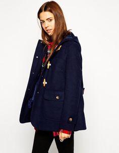 ASOS Petite Ultimate Hooded Duffle Coat in Navy UK 12 US 8 EUR 40 (ca81)