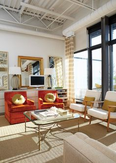 belle maison: Get the Look: Vintage Modern Living Area, Living Spaces, Living Rooms, Condo Living, Family Rooms, Apartment Living, Style Loft, Living Room Photos, Look Vintage