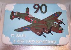 Lancaster Bomber Airplane Birthday Cakes, Birthday Cakes For Men, Birhday Cake, Planes Cake, Military Cake, Bomber Plane, Happy 90th Birthday, Lancaster Bomber, Cake Decorating