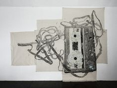 """SAL-cassette tape (pencil and acrylic on patch worked cloth)   See more Tokyo art in """"The Tall Trees of Tokyo"""" from Overcup Press: http://overcupbooks.com/products/the-tall-trees-of-tokyo"""