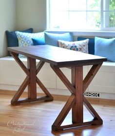 diy x base table: would work well with bench seating