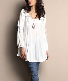 Love this White Peasant Tunic on #zulily! #zulilyfinds