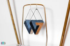 Infinite Penrose Triangle Earrings  Impossible Object by televised, $22.00