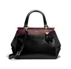 The Double-handled Carryall Is Available In Three Colours - Selena Black Cherry, Selena White and Selena Red - Selena Gomez's first collaboration with Coach has been unveiled, and we are in love with all of it. Luxury Bags, Luxury Handbags, Purses And Handbags, Designer Handbags, Leather Satchel, Calf Leather, Coach Purses, Coach Bags, Selena Gomez Coach