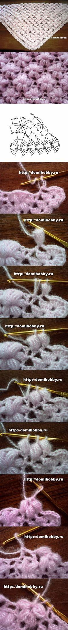Chal flores puff. http://neddle-crafts.blogspot.com.ar/2011/08/crochet-shawel.html?m=0