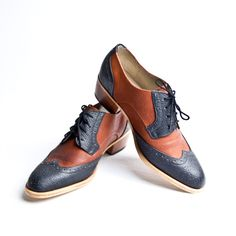 balck and brown derby oxford brogue shoes with cuban heel