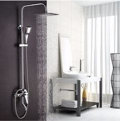 Cheap shower faucets, Buy Quality faucet shower set directly from China shower set Suppliers: Big promotion 8 inch 3 Function Chrome Finish Brass Made Shower Faucet Shower Set Rain Shower Head Tub Mixer Faucet for bathroom Bathroom Shower Faucets, Bath Shower Mixer Taps, Tub And Shower Faucets, Shower Set, Bathroom Fixtures, Copper Bathroom, Gold Shower, Bathroom Lighting, Big Shower Heads