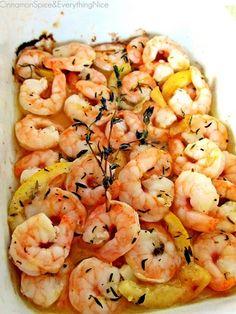 Healthy Dinner- Roasted Lemon Garlic Shrimp - Click image to find more Food & Drink Pinterest pins