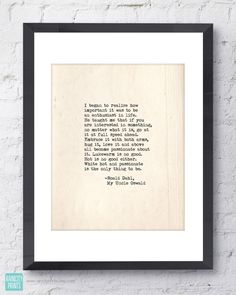 Roald Dahl My Uncle Oswald Quote. Inspirational Print. Typographic Print. Typewriter Series no.6. White Hot and Passionate. Modern Wall Art.