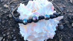Tahitian pearl necklace triple pearl leather choker by GloriaSnow
