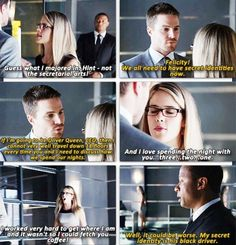 Arrow - 2x02 Identity - Oliver, Felicity and Diggle - love this scene!