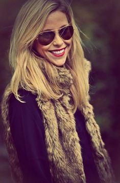 Fur vest, sunglasses, red lips