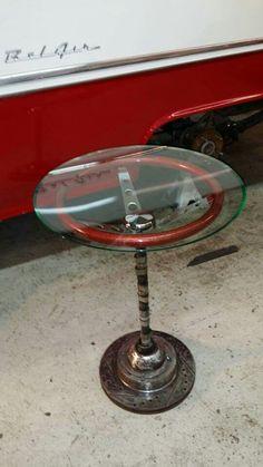 1960's steering wheel lamp table.