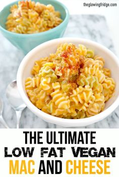 The Ultimate Vegan Mac and Cheese. Your favorite comfort food made low fat and oil free. Ready in 35 minutes. Great way to sneak in extra veggies! Pure creamy and cheesy goodness! YUMM. From The Glowing Fridge.