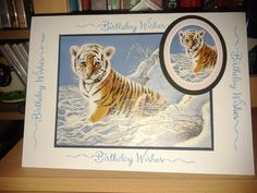 Phill Martin word stamp and Pollyanna Pickering painting images. Cat Cards, Greeting Cards, Animal Cards, Masculine Cards, Wild Animals, Birthday Wishes, Handmade Cards, Card Making, Stamp