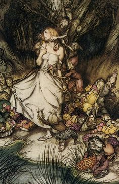 """Into the Woods, 6: The Dark Forest - Goblin Market by Arthur Rackham Terri Windling: """"What the stories seem to want to teach us is not to shun the forest's gifts (magical and otherwise) entirely, but to be careful, and wary of appearances. Once we recognize that the hideous hag is a good fairy in disguise..., then it's perfectly safe to take bread from her hands -- but that suave, handsome wolf? He's a trickster and a rogue, and it's the flesh of your own grandmother he's inviting you to…"""