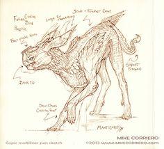 Manticore Sketch by MIKECORRIERO.deviantart.com on @deviantART