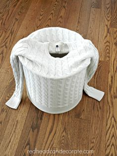 put a sweater on an old lampshade, cut off the top and glue down for an instant update!