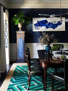dental molding, indigo walls, geometric rug via Jeffrey Alan Marks