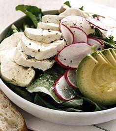 Arugula Salad with Chicken and Avocado.