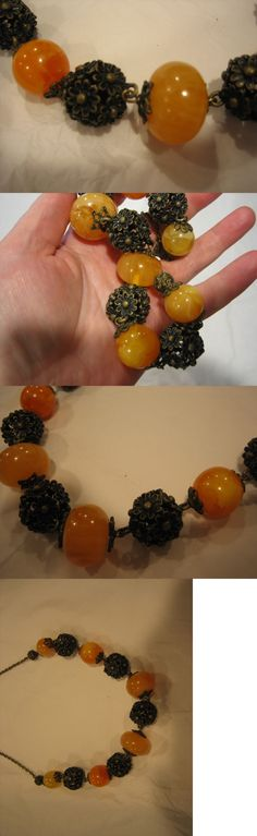 Amber 10191: Egg Yolk Amber And Bronze Bead Necklace 24 New, Vintage Beads -> BUY IT NOW ONLY: $50 on eBay!