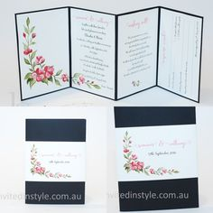 Watercolour design, accordion style wedding invitation with removable belly band and perforated RSVP card.