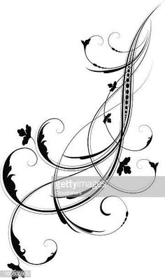 View top-quality illustrations of Arabesque Flow. Find premium, high-resolution illustrative art at Getty Images. Vine Tattoos, Flower Tattoos, Body Art Tattoos, Stencil Art, Stencils, Filigree Tattoo, Decorative Lines, Free Hand Drawing, Black And White Flowers