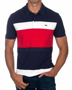 Lacoste Polo Shirt - Tricolor Polo Shirt Design, Polo Design, Tee Shirt Designs, Camisa Polo, Mens Polo T Shirts, Lacoste Polo Shirts, My T Shirt, Shirt Men, Online Shopping Clothes