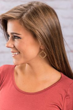 """""""Out For Love Earrings, Gold"""" If you are out looking for love you can find it right here in these earrings! They have a gorgeous dainty shape and they will go with everything! #newarrivals #shopthemint"""