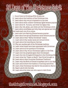 25 Days of Christmas ~ daily activities to keep the reason for the season as the focus for the month.