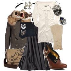 """""""everyday steampunk 4"""" by urbansouthuna on Polyvore - I really like steampunk (or steam-pulp as I'm discovering is more likely what I like) but would not want to go hardcore steampunk all the time, so I was inspired to design some outfits that incorporated steampunk but were still toned-down enough to be comfortable for every day."""