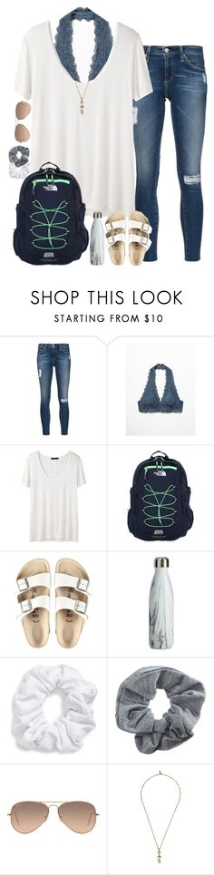 """following back on all social medias! rtd!"" by sarahc01 ❤ liked on Polyvore featuring AG Adriano Goldschmied, Free People, The Row, The North Face, Birkenstock, Natasha, Topshop, Ray-Ban and Isabel Marant"