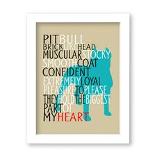 Pitbull Dog Art Print Quote Breed Specifics by DIGIArtPrints, $10.00