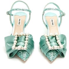 Miu Miu Glitter and buckle-embellished point-toe sandals ($1,250) ❤ liked on Polyvore featuring shoes, sandals, leather shoes, strappy sandals, leather strap sandals, blue sandals and glitter sandals
